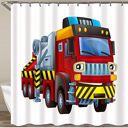 KGSPK Duschvorhang,Karikaturszenen-Feuerwehr-LKW, der lächelnde weiße Hintergr&illustration sucht,Wasserfeste Bad Vorhang aus Polyestergewebe mit 12 Haken Duschvorhang 180x180cm
