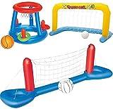 Piscina Inflable Flotante Voleibol Baloncesto Juego Set Juguete Deportes De Agua De Malla De Nylon Grueso Plus Verano PVC Agua Flotante Juego De Voleibol Piscina Juguete para Adultos Y Niños