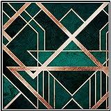 SXXRZA Pintura de Arte 50x50cm Sin Marco Abstracto Dorado Verde Línea geométrica Arte de la Pared Imágenes Impresiones Decoración del hogar Cartel de la Pared Decoración para la Sala de Estar