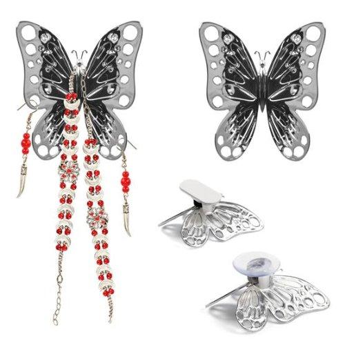 Balvi Portagioie Volare Colore Argento Set di 2 Supporti per Gioielli A Forma di Farfalla per Specchio, Armadio o Parete Plastica ABS 8x7cm