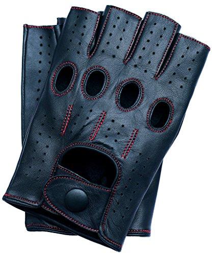 Riparo Motorsports Echte Lederhandschuhe mit Mesh für Männer oder Männer XX-Groß Schwarz Roter Faden