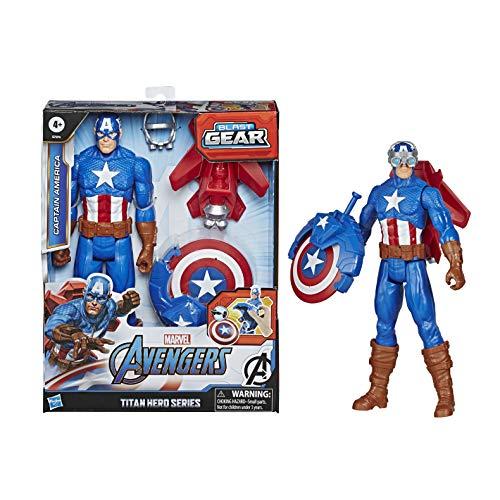 Marvel Avengers Titan Hero Serie Blast Gear Captain America, 30 cm große Figur, mit Starter, 2 Accessoires und Projektil, ab 4 Jahren