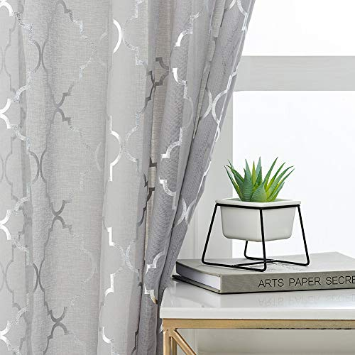 Kotile Moroccan Sheer Grey Curtains 63-Inch Length - Metallic Silver Lattice Curtain Panels Trellis Pattern Printed Grommet Window Curtains for Bedroom Girls, 52 x 63 Inch, 2 Panels, Gray and Silver