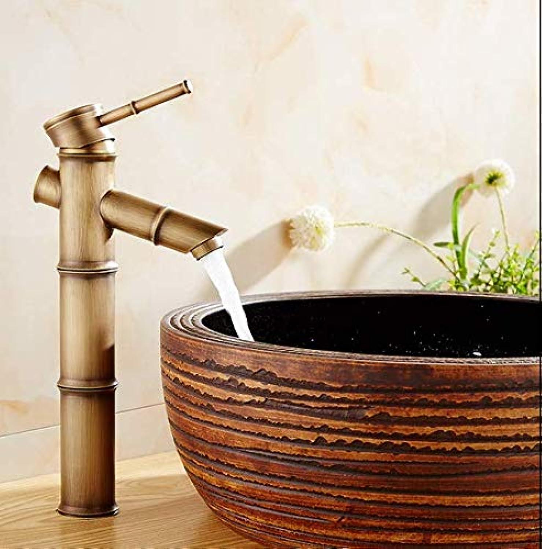 Copper European Antique Faucet Retro high Bamboo Single Hole Basin Faucet Art Basin Above Counter Basin hot and Cold Faucet