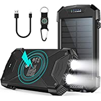 Goodaaa Portable Wireless Charger Solar Power Bank with Dual Flashlights