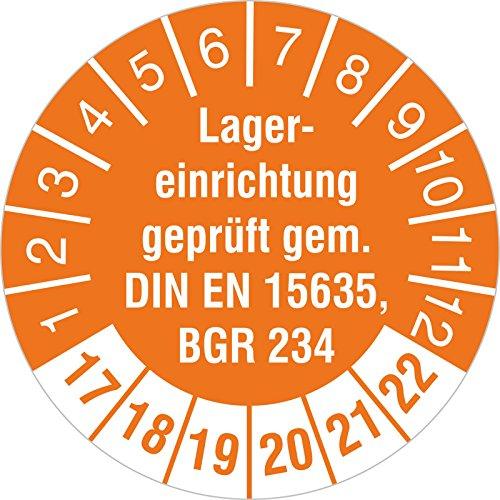 """Prüfplakette """"Lagereinrichtung geprüft gem. DIN EN 15635 / BGR 234"""" (2017-22) 30 mm Durchmesser selbstklebend orange 100 Stück"""