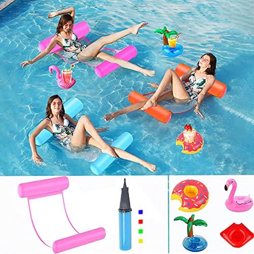 Hook Luftmatratze Pool Wasserhängematte Erwachsene, Pool Zubehör Spaß Erwachsene 4 in 1 Aufblasbares Schwimmbett Luftmatratze Pool Schwimmbett mit Netz für Kinder + 4 Aufblasbarer Getränkehalter