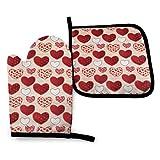Love Valentine's Day - Juego de guantes y soportes para ollas para horno, parche lavable, resistente al calor, cocina, agarre antideslizante, guantes para horno para microondas, barbacoa, cocinero