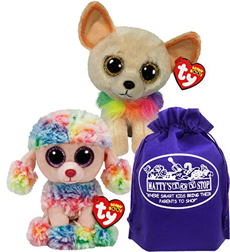 TY Beanie Boos Dogs Chewey (Rainbow Collar Chihuahua) & Rainbow (Multi-Color Poodle) Gift Set Bundle with Matty's Toy Stop Storage Bag - 2 Pack