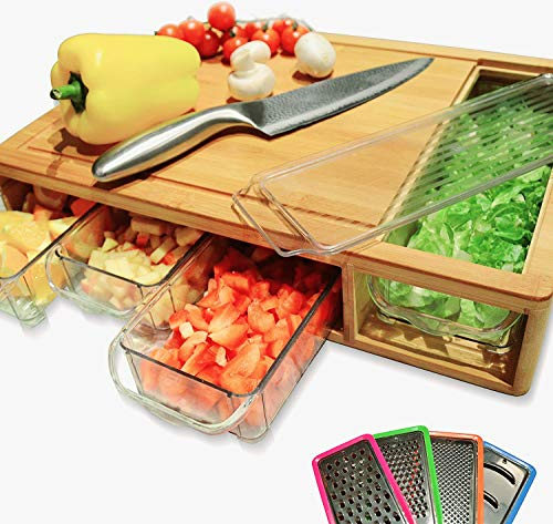 HEY PANDA Organic Bamboo Cutting Board With Containers and Lids 13pc set. Use as a Meal Prep Station. Designed with deep Juice Grooves, Handles, Rounded Corners and a Large Exposed Opening