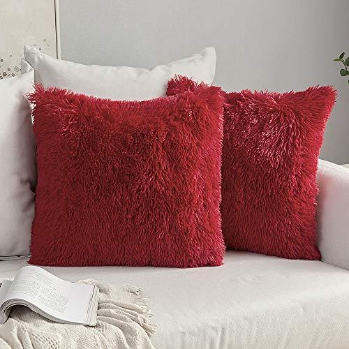 MIULEE 2er Set Soft Künstlich Pelz Throw Kissenbezüge Set Dekorative Dekokissen Kissen Fall für Sofa Schlafzimmer 16x16inch 40x40 cm Rot