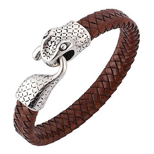 WYPAN Pulsera de Cabeza de Serpiente de Acero Inoxidable para Hombre con Cuerda de Cuero Genuino Trenzado Negro Pulsera de Brazalete Unisex Joyería,Marrón,7.28in