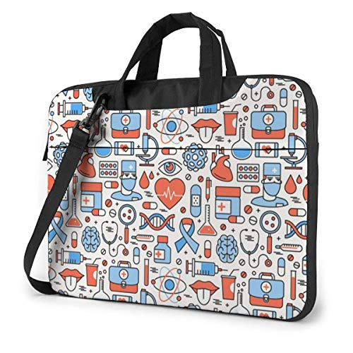 Medical Icons Square Fashion Laptop Case Laptop Shoulder Messenger Bag Sleeve for 13 To15.6 Inch