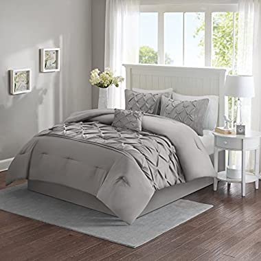 Comfort Spaces Cavoy Comforter Set - 5 Piece – Tufted Pattern – Gray – Full/Queen size, includes 1 Comforter, 2 Shams, 1 Decorative Pillow, 1 Bed Skirt