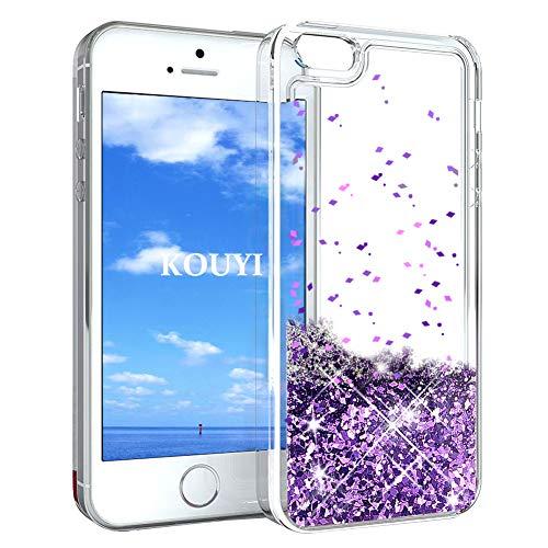 KOUYI Cover iPhone 5/5S/SE, 3D Glitter Chiaro Liquido Silicone TPU Telefono Cellulari Protezione Cover,3D Bling Protettiva Case Custodia per Apple iPhone 5/iPhone 5S/iPhone SE (Viola)
