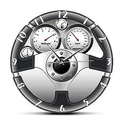 Wangzhongjie Sport Car Steering Wheel and Dashboard Printed Wall Clock Automobile Artwork Home Decor Automotive Drive Auto Style Wall Watch-No_Frame