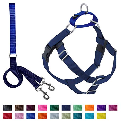 """2 Hounds Design Freedom No-Pull Dog Harness Training Package, Medium (1"""" Wide), Navy"""