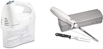 Hamilton Beach 6-Speed Electric Hand Mixer with Snap-On Storage Case, White (62682RZ) & Hamilton Beach Electric Knife, Storage Case & Serving Fork Included, White (74250R)