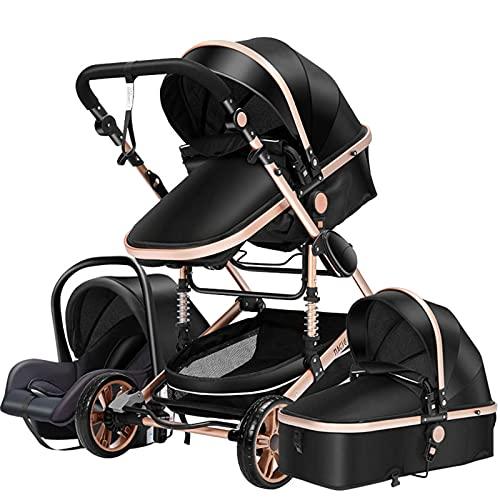 Pushchair Baby Stroller 3 in 1 Portable Travel Baby Carriage Folding Baby Prams Aluminum Frame High Landscape Car for Newborn Babyboomer Poussette (Black Gold)
