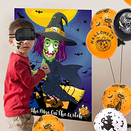 HOWAF Halloween Party Games for Kids, Stick The Nose On The Witch, with 24 Nose, 20PCS Halloween Balloons and Tattoos for Kids Halloween Party Supplies, Halloween Party Decorations