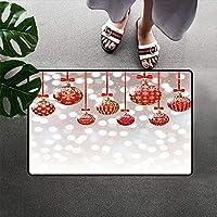 玄関マット印刷クリスマスデコレーション玄関マット正面玄関マットシルバーの背景にクリスマスボール冬の休日のテーマエントランスアートワークエントランスウェルカムマット滑り止めカーペットフロアマット