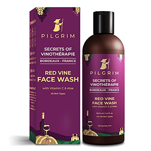 Pilgrim Red Vine Face Wash Cleanser with Vit C & goodness of Aloe for Anti Ageing, De-Pigmentation, Dark Spots Removal, Dry, Oily Skin, Men and Women, 100ml