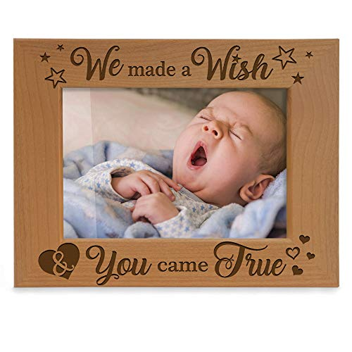 KATE POSH - We Made a Wish & You Came True Engraved Natural Wood Picture Frame, New Baby Gifts, New Mom, New Dad, Adoption Gifts (4x6 Horizontal)