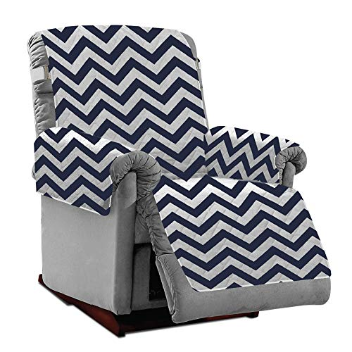 Mighty Monkey Premium Reversible Recliner Protector, Seat Width to 28 Inch, Furniture Slipcover, 2 Inch Strap, Reclining Chair Slip Cover Throw for Pets, Dogs, Recliner, Chevron Navy White