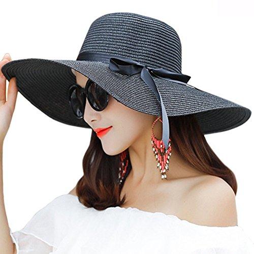 Damen Schleife Faltbar UV Schutz Sonnenhut Strohhut Strandhut Sommerhut Floppy Hut Schwarz