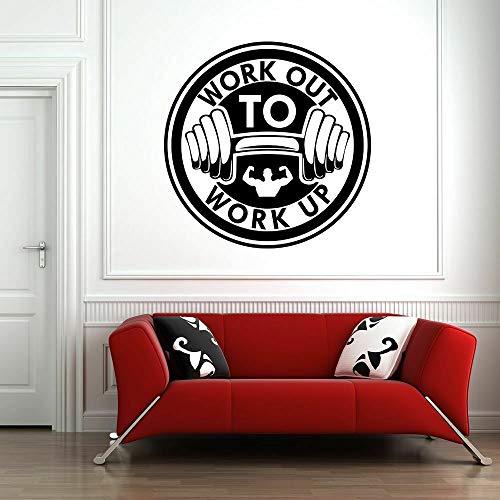 Gimnasio logo calcomanías de pared entrenamiento fitness arte puertas y ventanas pegatinas de vinilo club decoración interior culturismo mural