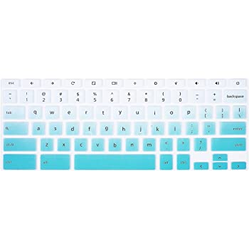 GradualBlue+Clear Keyboard Cover Soft Silicone Skin Protector for dell chromebook 3380 13.3 inch,Dell Chromebook 3120 XDGJH,Dell Chromebook 3180//3189//3181//5190,dell chromebook 11.6 inch 2pcs Lapogy