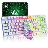 87 llaves Combo de teclado inalámbrico y ratón Arco iris retroiluminado Teclado de juego de sensación mecánica recargable 2.4G + Ratón LED para juegos de 2400DPI + Alfombrillas de ratón (blanco)