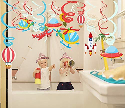 30 Ct vliegtuig opknoping Swirls Decoraties Hot Air Balloon Vliegtuig Helikopter Raket Spiraal Garland Plafond Decoratie voor Huis, School, Kids Meisjes Jongens Verjaardag Party Decoraties benodigdheden