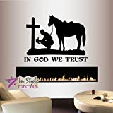 Wall Vinyl Decal Home Decor Art Sticker in God We Trust Quote Phrase Cowboy Praying Kneeling Cross Horse Western Bedroom Living Room Removable Stylish Mural Unique Design 2052