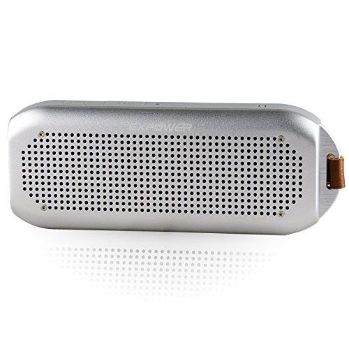Expower Tragbarer Aluminium-Lautsprecher IPX7, wasserdicht, Bluetooth 4.0, mit 10 W Ausgang, Stereo-Bass-Sound, NFC, Freisprecheinrichtung, silberfarben