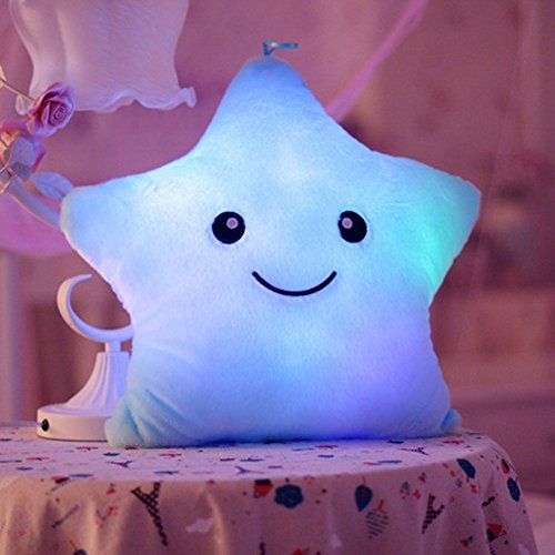 Mystery&Melody LED Star Pillows Glowing Luminous Light Up Soft Flashing Light Cushions Wonderful Nursery Room Pillows Kids Plush Toys Christmas Halloween Party Decorations (Blue)
