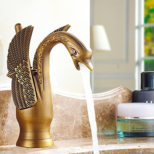 JUNSHENG rubinetto bagno lavabo Rubinetto Per Cigno rubinetto Rubinetti Per Lavabo In Stile Nuovo Design,Bronzato (Ottone)