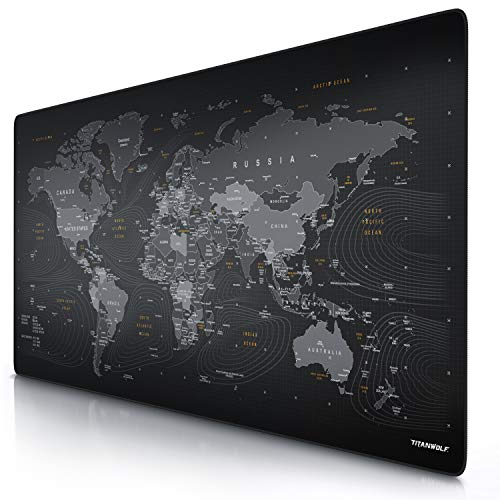 CSL - Übergröße Mauspad 1200x600mm Weltkarte - XXXL Mousepad groß mit Motiv - Tischunterlage Large Size - verbessert Präzision und Geschwindigkeit - XXL Gaming z.B. für Logitech Maus und Tastatur