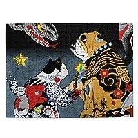 500ピース ジグソーパズル 猫の彫師 犬 蛇 パズル 木製パズル 動物 風景 絵 ピクチュアパズル Puzzle 52.2x38.5cm