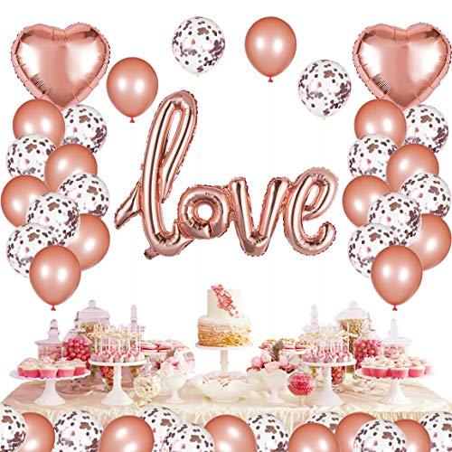 Niceclub 45 Stück Hochzeit Luftballons Herz Ballon Rose Gold Love Luftballons für Hochzeit, Valentinstag, Muttertag, Geburtstag und Baby-Dusche Dekoration
