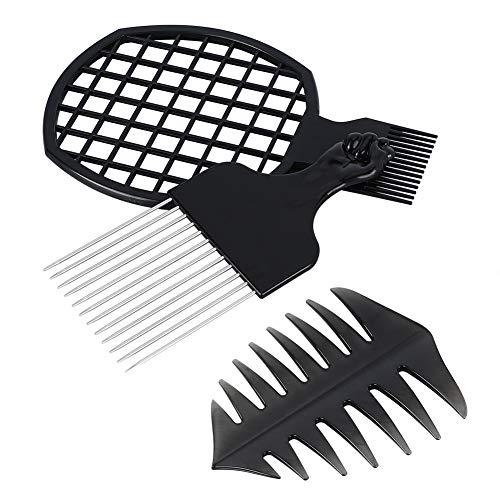 Haofy Afro Kamm mit Griff + Twist Kamm+ Griffkamm 3er Set,Metall Afrokamm für Voluminöses Dichtes Lockiges und Langes Haar,Afro Hair Styler - Pick Kamm Frisur Styling-Tool