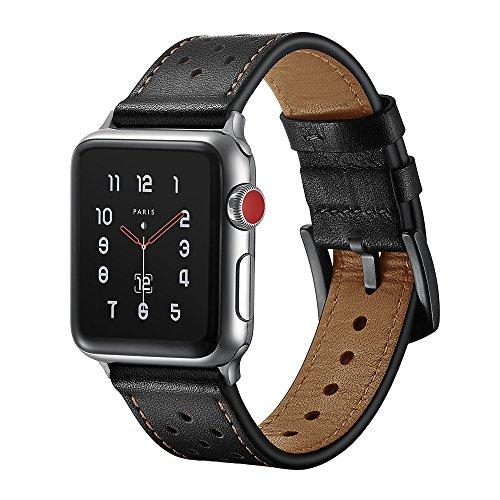 SUNKONG - Cinturino per Apple Watch da 38/42mm, sportivo e alla moda, in vera pelle di alta qualità, per Apple Watch Series 1,Series 2,Series 3Sport e tutte le versioni di Apple Watch con citurino da 38/42mm
