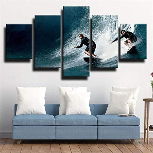 KOPASD 5 Piezas Pintura De Pared Sala De Estar De Arte Deporte de Agua surfeando Azul Oscuro HD Print De Decoración para El Hogar para (Enmarcado Tamaño 150x80cm)