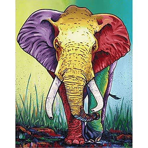 Lazodaer Kit de pintura de diamante 5D completo redondo taladro redondo rhinestone bordado imágenes artes para la decoración de la pared del hogar icono de color 11.8x15.7 pulgadas