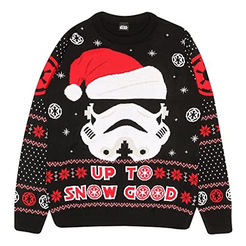 Star Wars Stormtrooper Up To Neve Buono Knitted Jumper Uomo Nero M | Natale Jumper Ugly Sweater Fair Isle Natale Idee Regalo Abbigliamento Uomo