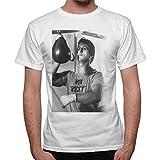 Camiseta de manga corta para hombre con foto de Rocky Balboa con la pera de boxeo, blanca Bianco L