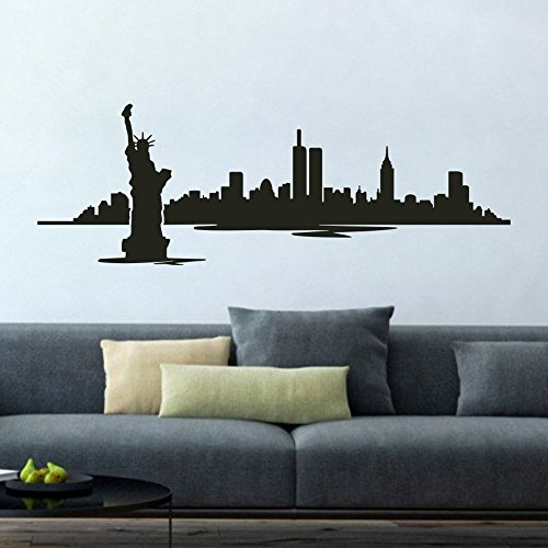 New York Statue of Liberty Wall Decals New York Skyline Cityscape Office Sticker Library Decor