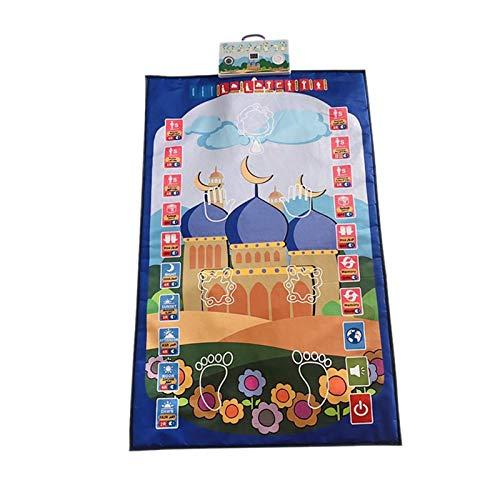 Nobranded Tapis de Prière Musulmans pour Enfant ,Tapis Islam Prière Électronique avec Boutons éducatif et Interactif-7 Langues par Batteries 110x7 0cm - Bleu