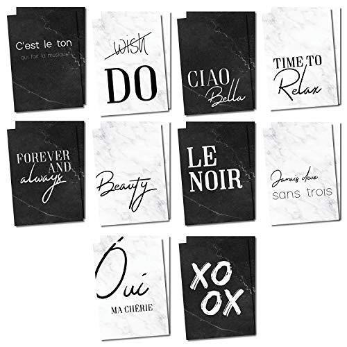 20er Postkarten-Set mit schönen Sprüchen I in schwarz-weiß I Spruch-Karten mit Marmor-Motiv I zum Beschriften und Verschicken I dv_345