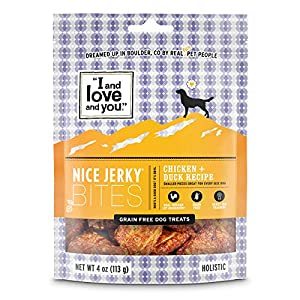 I and love and you Nice Jerky Bites – Grain Free Dog Treats, Chicken + Duck, 4-Ounce, Pack of 1